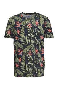 JACK & JONES ORIGINALS T-shirt met bladprint donkerblauw/groen/roze