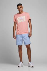 JACK & JONES ORIGINALS regular fit T-shirt met printopdruk koraalrood, Koraalrood
