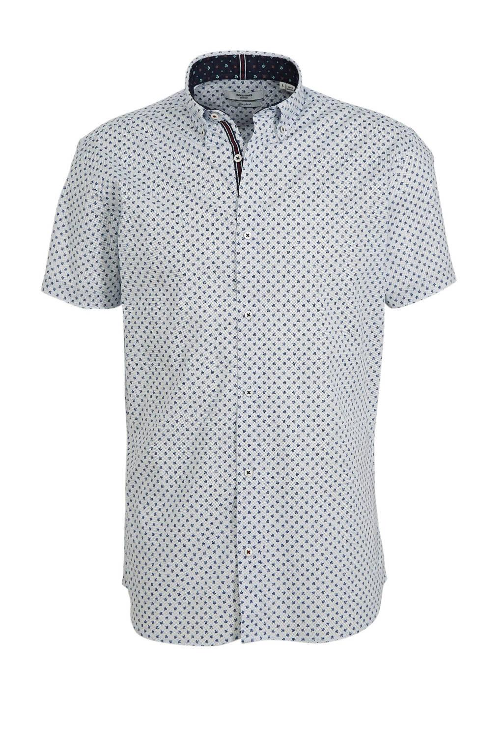 JACK & JONES PREMIUM regular fit overhemd met all over print wit/blauw, Wit/blauw