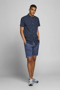 JACK & JONES PREMIUM regular fit overhemd met all over print donkerblauw, Donkerblauw