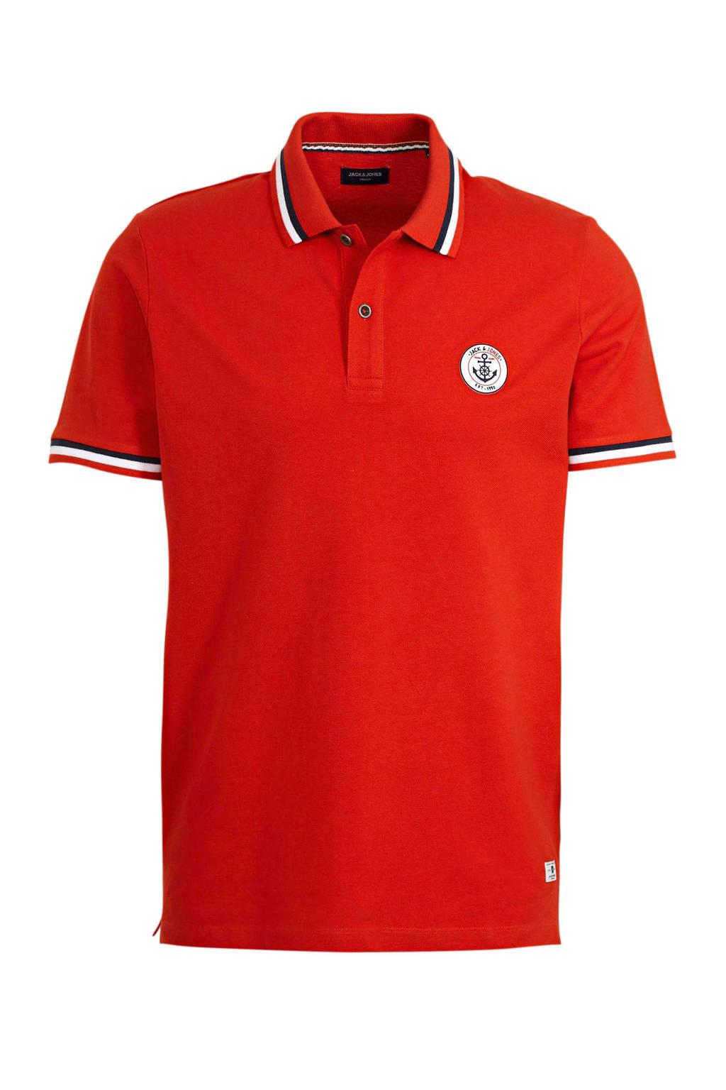 JACK & JONES PREMIUM slim fit polo met contrastbies rood, Rood