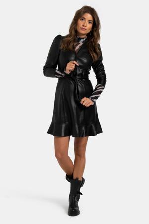 imitatieleren jurk met ceintuur zwart