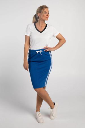 rok met contrastbies blauw