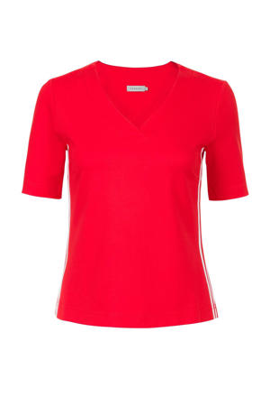 T-shirt met contrastbies rood