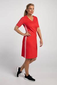 PROMISS jersey jurk met contrastbies rood, Rood