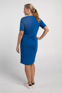 PROMISS jersey jurk met contrastbies blauw, Blauw