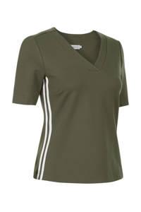 PROMISS T-shirt met contrastbies groen, Groen