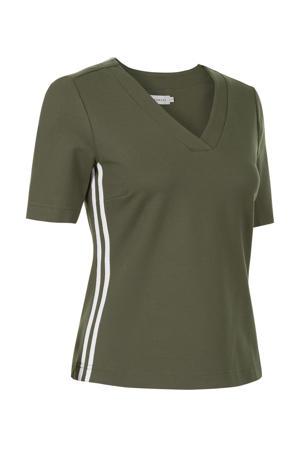 T-shirt met contrastbies groen