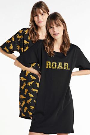 nachthemd met all over print (set van 2) zwart/geel