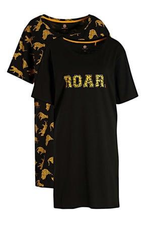 nachthemd met all over print zwart/geel (set van 2)