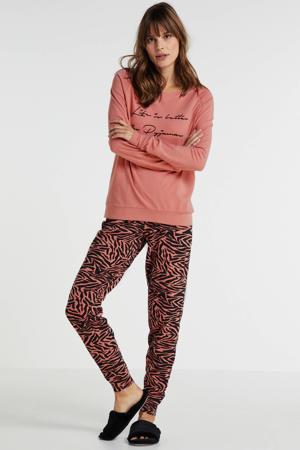 pyjama met zebraprint roze/zwart