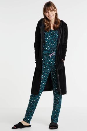 velours badjas met ritssluiting zwart