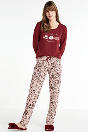 pyjama met all over print donkerrood/roze