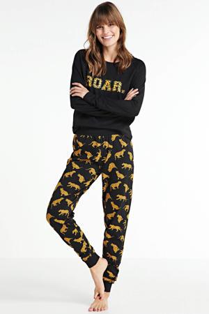 pyjama met all over print zwart/geel
