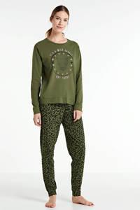 wehkamp pyjama met printopdruk olijfgroen, Olijfgroen