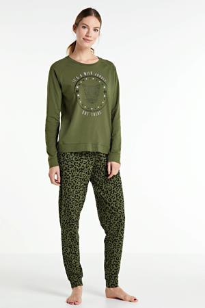 pyjama met printopdruk olijfgroen