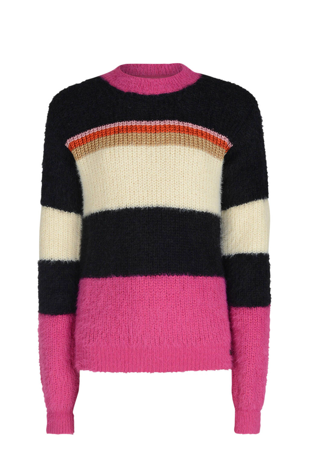 Jill & Mitch by Shoeby gestreepte gebreide trui Asmae zwart/roze/ecru, Zwart/roze/ecru