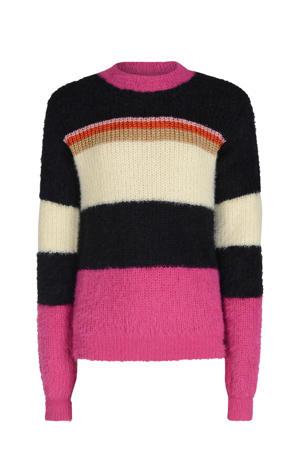 gestreepte gebreide trui Asmae zwart/roze/ecru