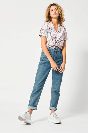 blouse Ivy met all over print roze/blauw