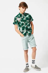 America Today Junior overhemd Brayden met bladprint lichtblauw/groen, Lichtblauw/groen