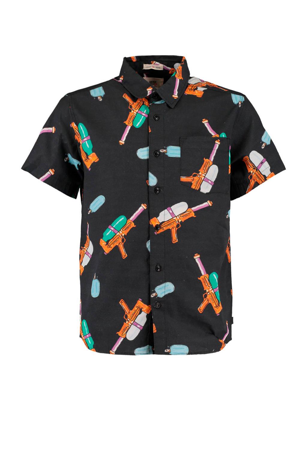 America Today Junior overhemd Brayden met all over print zwart/multicolor, Zwart/multicolor