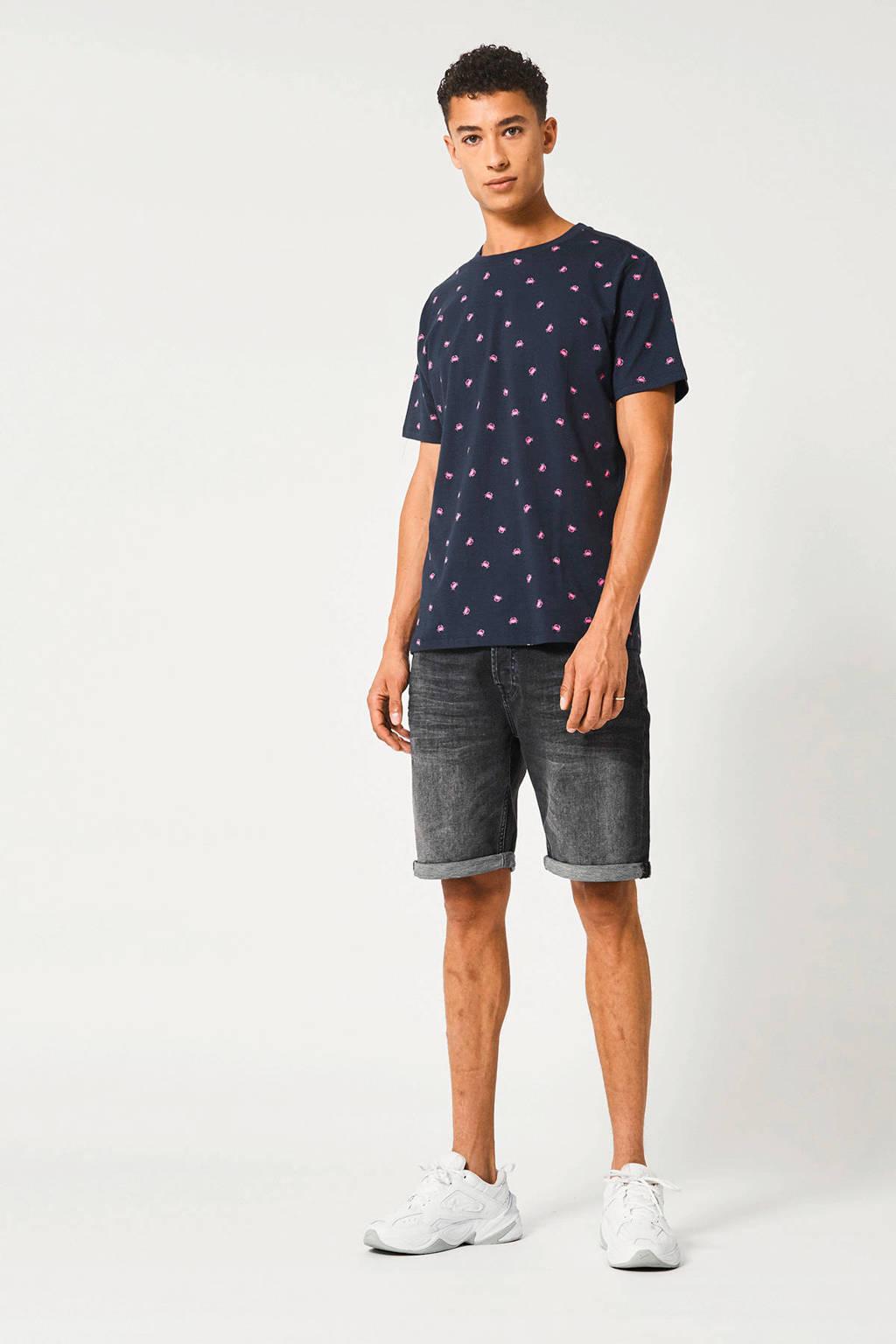 America Today T-shirt Erwin met all over print donkerblauw, Donkerblauw