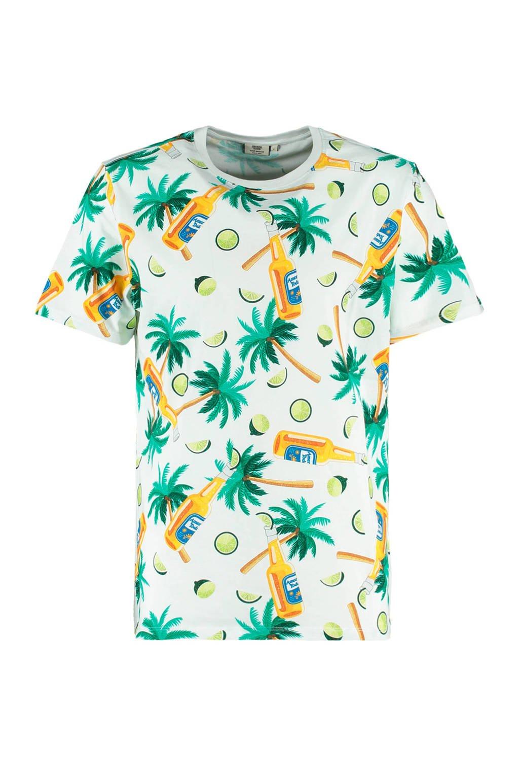 America Today T-shirt Erwin van biologisch katoen wit/groen, Wit/groen