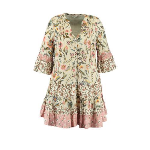 MS Mode A-lijn jurk met all over print en ruches e