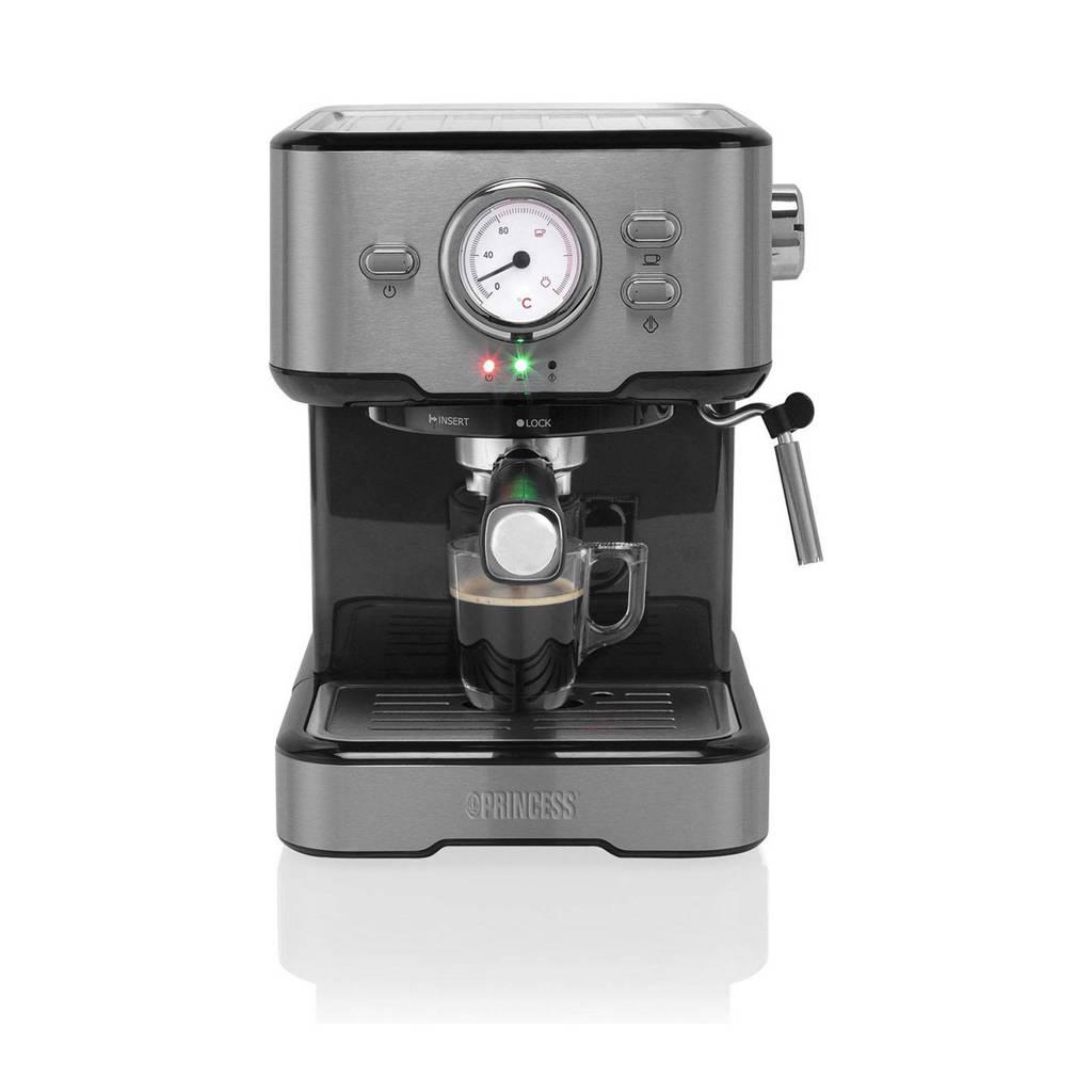 Princess 1249412 espresso apparaat, Zwart, Roestvrijstaal
