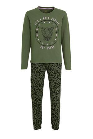 pyjama met printopdruk groen