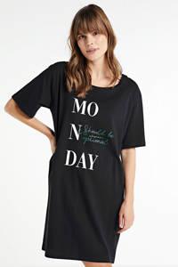 wehkamp nachthemd met all over print (set van 2) zwart, Zwart