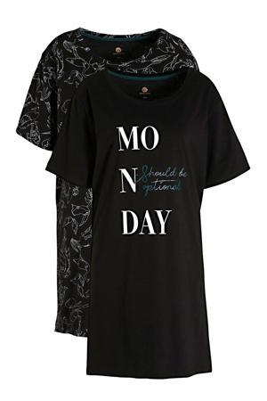nachthemd (set van 2) zwart