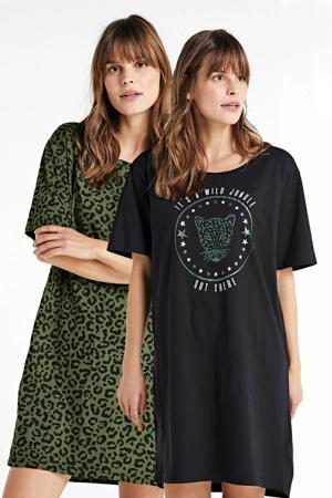 nachthemd met panterprint (set van 2) zwart/groen