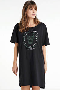 wehkamp nachthemd met panterprint (set van 2) zwart/groen, Zwart/groen