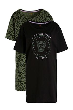 nachthemd met panterprint zwart/groen (set van 2)