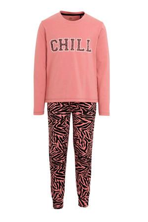 pyjama met tekst en all over print roze/zwart