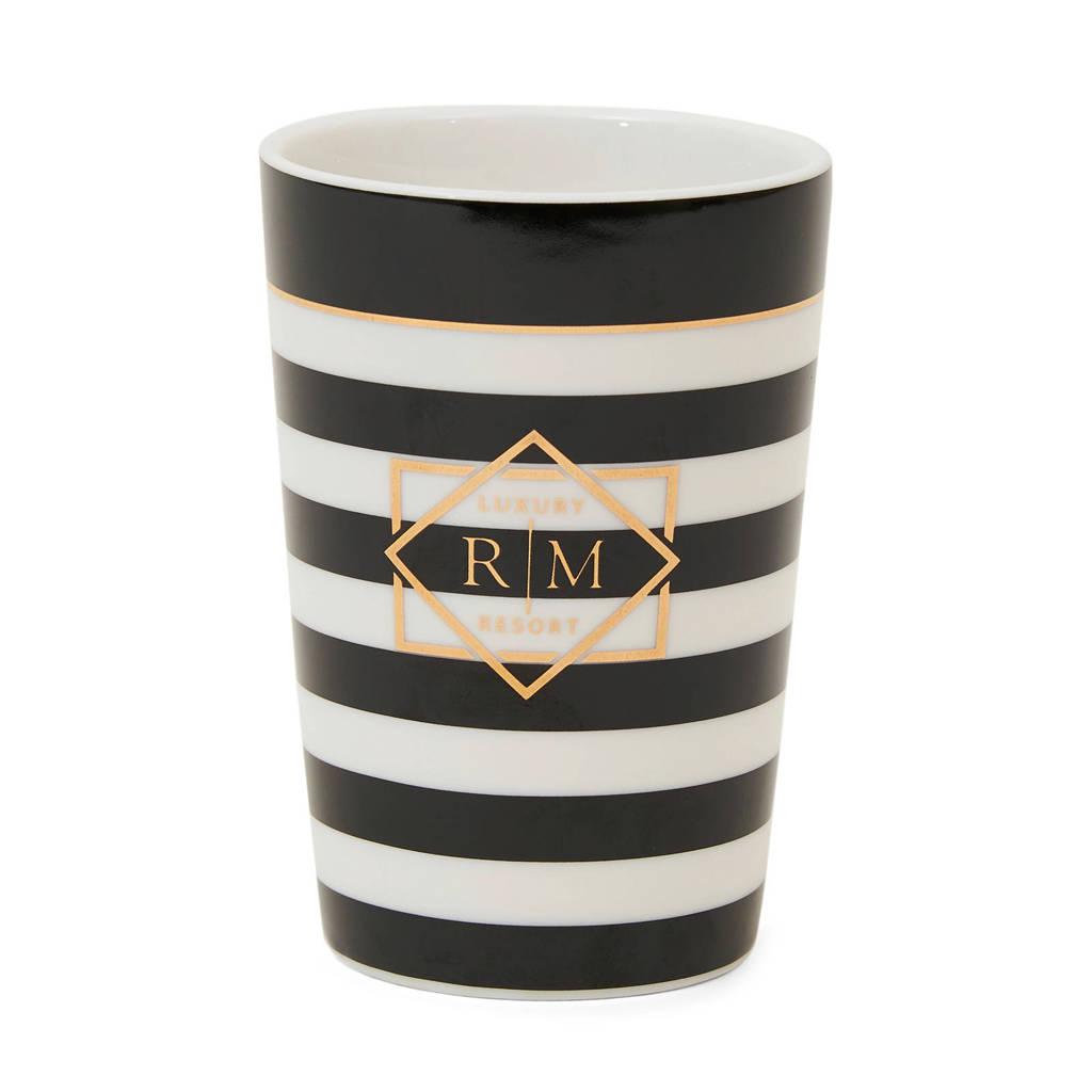 Riviera Maison tandenborstelhouder Luxury Resort (8x11.5 cm) Zwart/wit