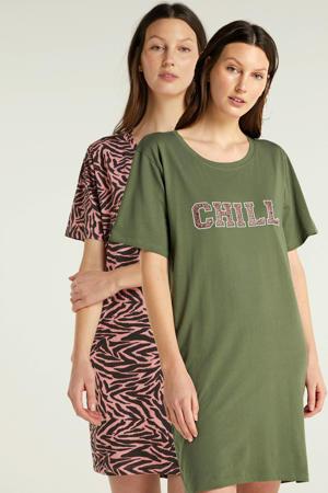 nachthemd met all over print (set van 2) roze/groen