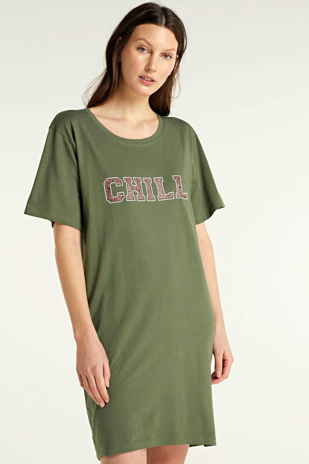 wehkamp nachthemd met all over print (set van 2) roze/groen, Rzoe/groen