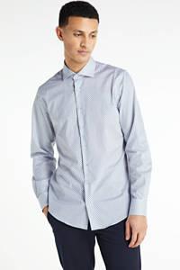 Profuomo slim fit overhemd met all over print lichtblauw, Lichtblauw