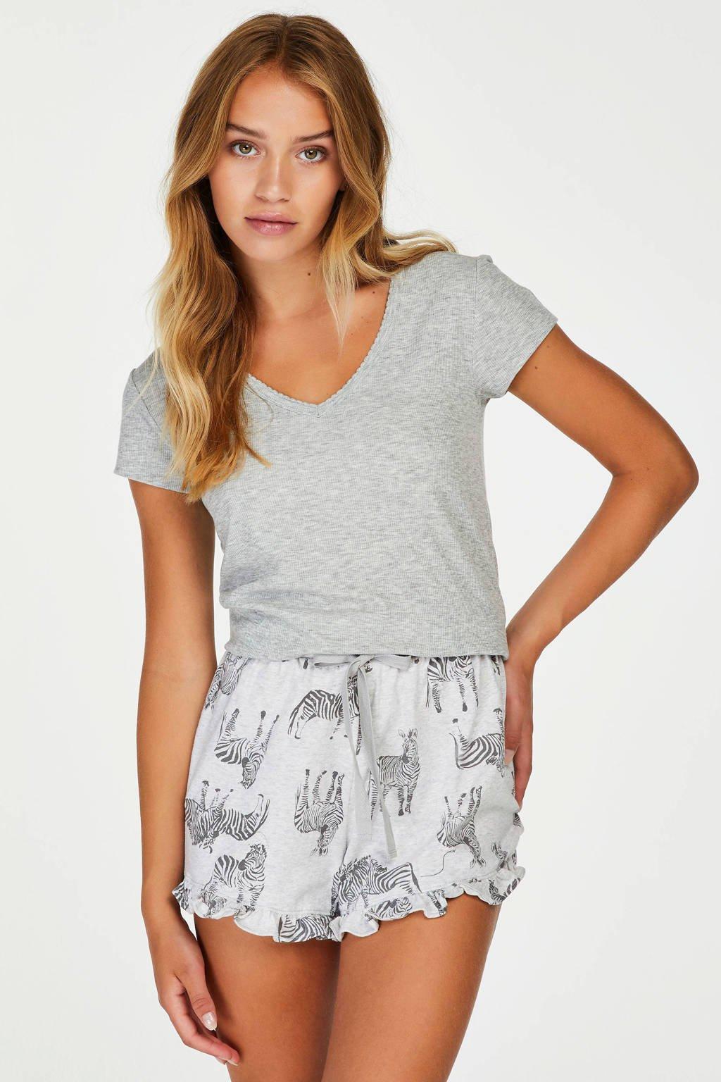 Hunkemöller pyjamatop met rib structuur grijs, Grijs