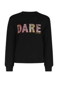 Jill & Mitch by Shoeby trui met tekst en patches zwart/roze/geel/grijs, Zwart/roze/geel/grijs