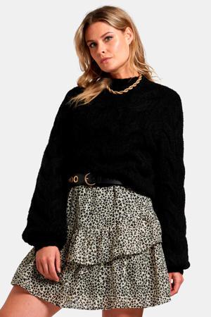 grofgebreide trui met wol zwart