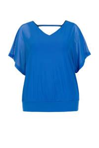 Miss Etam Plus semi-transparante top blauw, Blauw