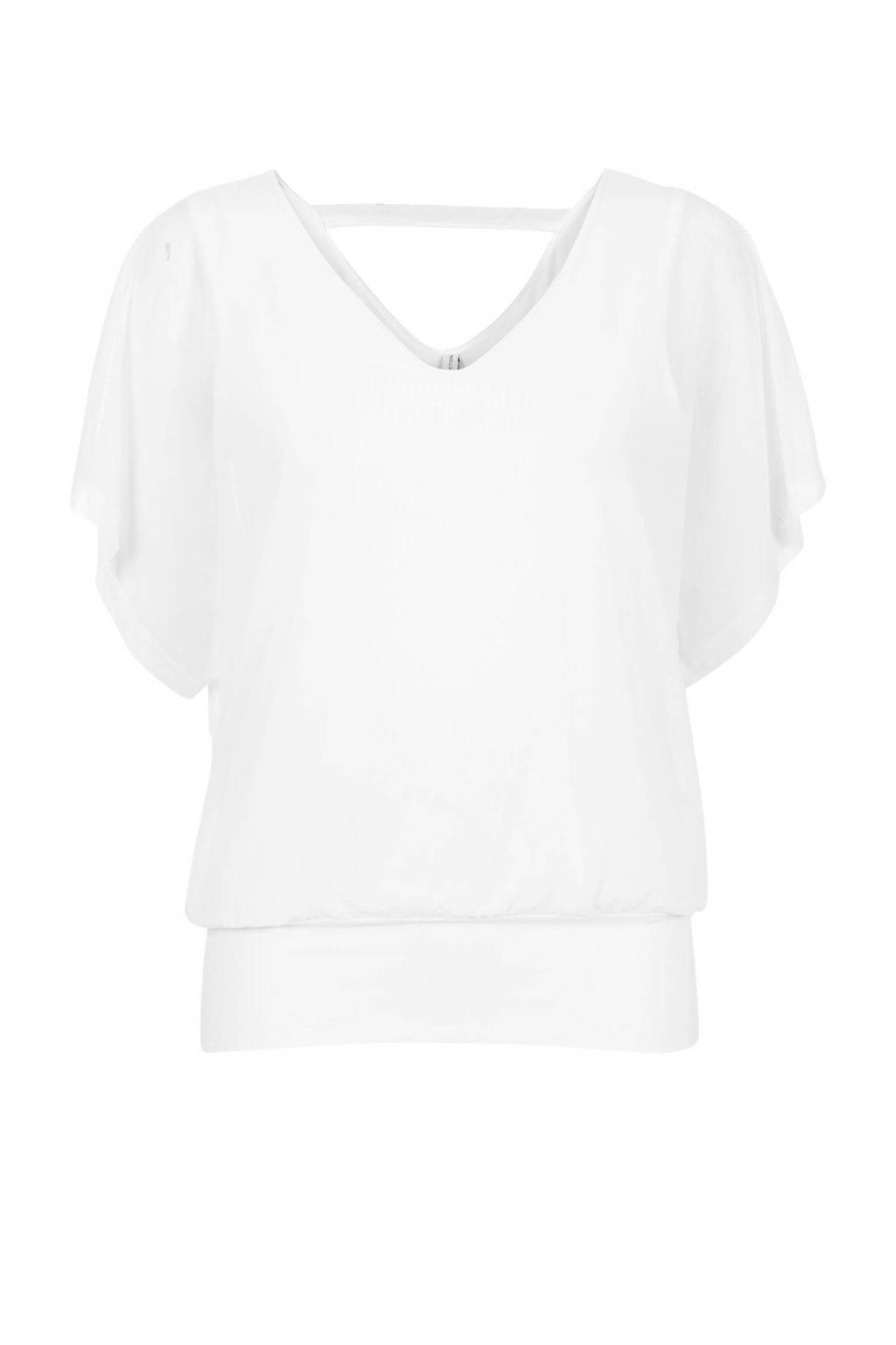 Miss Etam Regulier semi-transparante top met volant wit, Wit