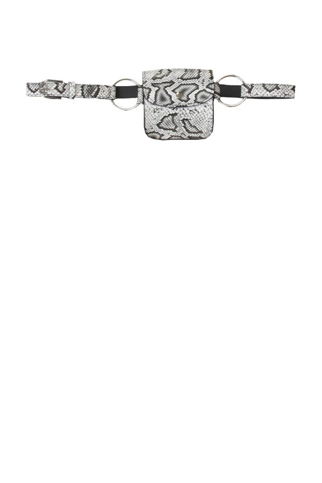 Miss Etam Accessoires   heuptas slangenprint, Grijs/zwart