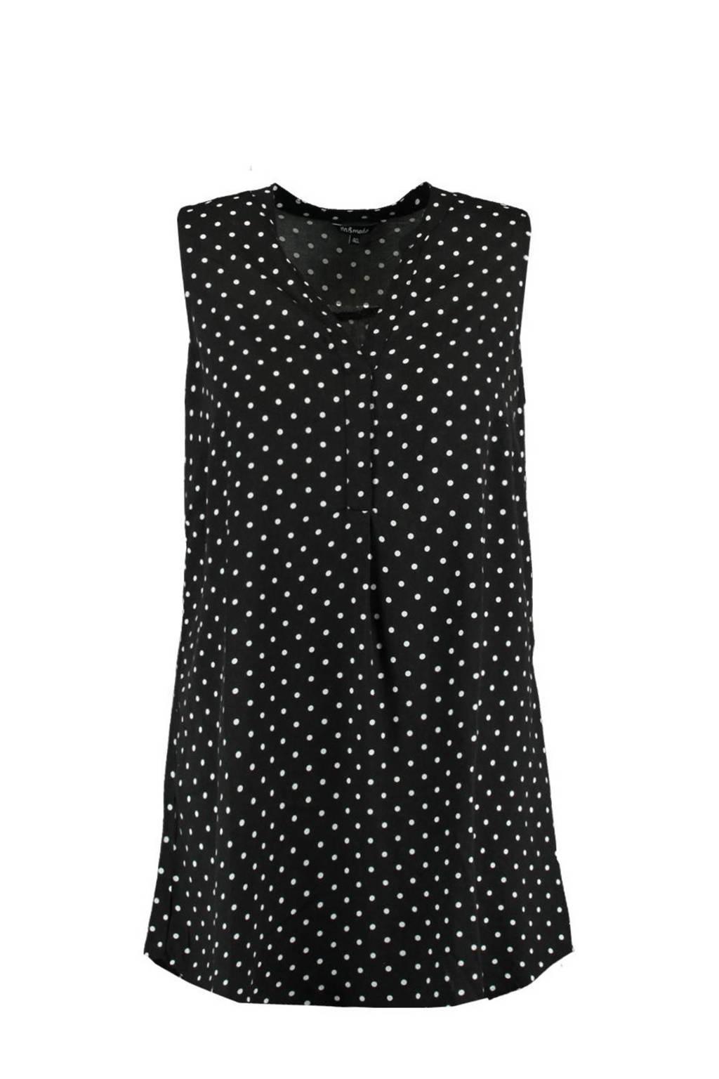 MS Mode tuniek met stippen en plooien zwart/wit, Zwart/wit