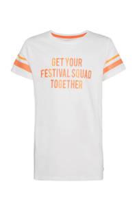 WE Fashion regular fit T-shirt met contrastbies wit/oranje, Wit/oranje