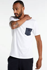 BOSS Casual T-shirt wit/donkerblauw, Wit/donkerblauw