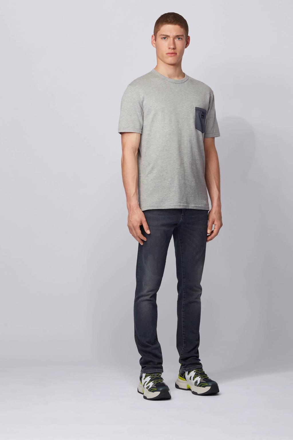 BOSS Casual gemêleerd T-shirt grijs, Grijs